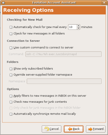 Email receiving options in Evolution setup.