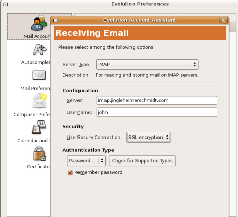 Email POP server details in Evolution setup.