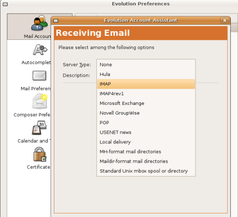Email setup screen with POP server selected.